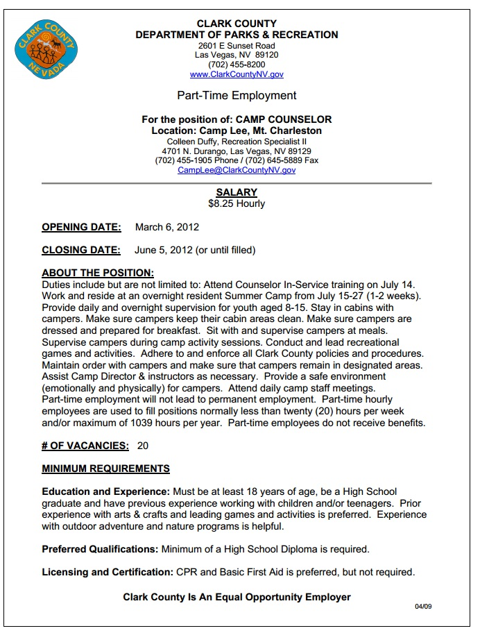Summer Employment Opportunity Clark County Hiring For Camp Lee
